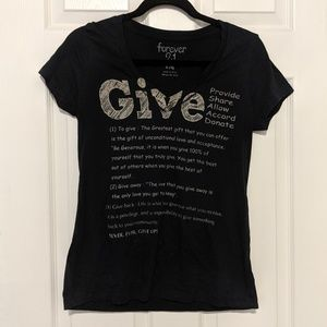 Forever 21 Large Black Graphic Tee Give Definition